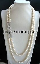 "2rows freshwater pearl white round 8-9mm  necklace 26-28"" nature wholesale beads"
