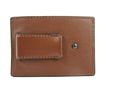 NWT F75459 SADDLE Authentic COACH CALF LEATHER MONEY CLIP CARD CASE  $95.00