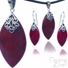 SOLID 925 Sterling Silver Red Coral Bali Pendant Earrings SET Unique Retro Gift