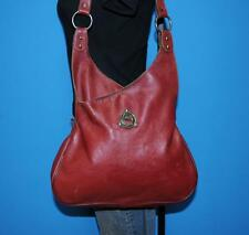 Vintage 1970s ETIENNE AIGNER Brick Red Leather Hobo Boho Bucket Tote Purse Bag