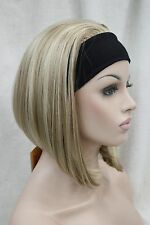 Cute BOB 3/4 wig with headband blonde mix straight women's short half hair wigs
