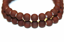 100pc 8mm Brown Loose Beads Rubberized Glass 1-3 day Shipping