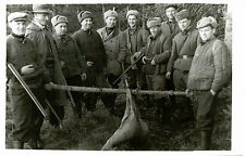 GROUP OF RUSSIAN HUNTERS WITH RIFLES HOLDING DEAD ANIMAL -ORIGINAL VINTAGE PHOTO