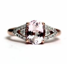 925 sterling silver 14k rose gold morganite cubic zirconia band ring 2.9g estate