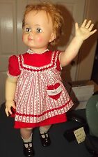 """VTG 1960's 32"""" Saucy Walker Doll Ideal Toy Corp T28X-60 in Orig Dress & Shoes"""
