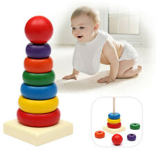 NEW Kids Baby Wooden Stacking Ring Tower Educational Rainbow Stack Up Child Toys