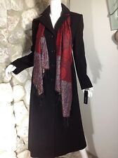NWT $400 JONES NEW YORK WOMENS LONG MAXI BLACK WOOL  BLEND COAT SIZE 4