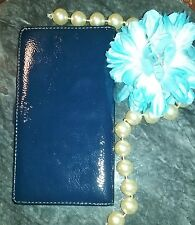 Coach Checkbook Cover Royal Blue Patent Leather Wallet