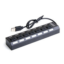 7 Port USB 2.0 Fast High Speed Powered Hub For Laptop PC Android TV Media Black
