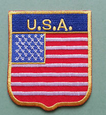 NATIONAL FLAG COUNTRY SHIELD SEW ON / IRON ON EMBROIDERED PATCH:- U.S.A. AMERICA