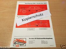 Ford Taunus Typ P 4 12 M + Kombi (bis 1965), Terotex Hohlraumversiegelungsplan
