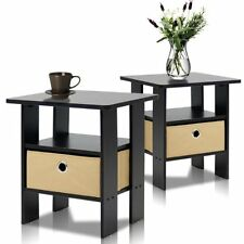 Nightstand Set of 2 Bedside Tables Bin Drawers End Table Pair Espresso NEW