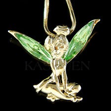 w Swarovski Crystal ~Green Tinkerbell Tinker Bell Fairy Gold Tone ANGEL Necklace