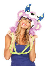 Leg Avenue Three Eyed Fred Halloween Costume Furry Monster Cosplay Hood Pom Poms