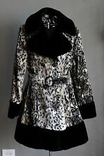 VINTAGE 60's MOD BLACK FUR TRIM DRESS COAT ANIMAL PRINT SNOW LEOPARD BELTED L-XL