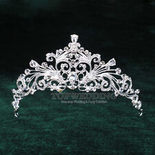 Bridal Grace Austrian Crystal Tiara Wedding Crown Veil Headband Hair Accessory