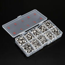 330pcs Allen Bolts+Hex Nuts+Washers +Cap Nuts+Square Nuts & Nylock Hex M6 Silver