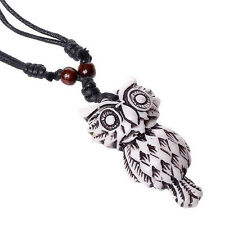 1 Piece Fashion Women Men Owl Resin Wax Cord Pendant Jewelry Necklace