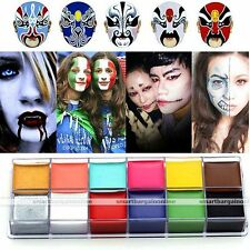 Face Body Paint Oil Painting Art Makeup Set Halloween Party Fancy Dress 12 Color