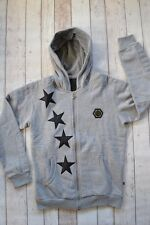 BNWT PHILIPP PLEIN HOODIE GREY SIZE MEDIUM HOODED SWEATSHIRT JACKET SMALL STARS