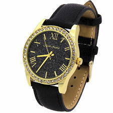Ladies Gold Plated Black Glitter Dial Fashion Leather Band  Quartz Wrist Watches