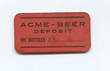 RARE Vintage Acme Beer Deposit on Bottles Tag - Zirke's Delicatessen
