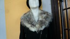 Vintage brown  beige real fox fur collar scarf wrap trim strip shawl for jacket