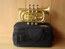 **HIGH QUALITY OSWAL NEW BRASS FINISH Bb POCKET TRUMPET+W/CASE+M/P+FREE SHIPPING