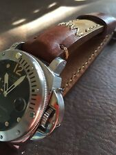Arm Art Handmade Leather Men's watch strap 24mm Brown Band with S Steel buckle