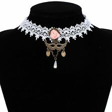 Bronze Bead Mask Pendant Victorian white Lace Flower choker Collar Necklace