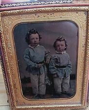 1850s YOUNG BOYS ETHNIC FASHION PORTRAIT QUARTER PLATE AMBROTYPE IN CASE-COLORED