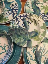 12 Piece Marine Coastal Sea Life Dinnerware Set Melamine turtle crab plates bows