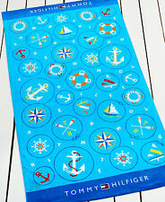 "Tommy Hilfiger Beach Towel Nautical Icons Blue 35"" x 66"" 100% Cotton"