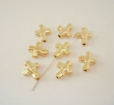 20 Pcs- Cross Bead Charm Pendant Gold Plated for Jewelry Making.