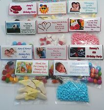 16 Personalised Sweet Bag WRAPPERS Birthday Party Favours POSTED 1st CLASS