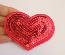 2 large red heart patches patch sequin applique motif iron on hotfix sew on UK