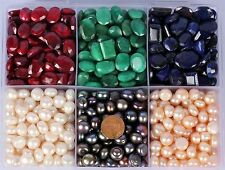 100.00 Cts EACH ~ RUBY, EMERALD, SAPPHIRE GEMSTONE & NATURAL PEARL WHOLESALE LOT