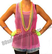 80s Fancy Dress String Mesh Net Vest Tank Top Neon Pink Sizes 8-12