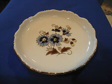 ZSOLNAY PECS HAND PAINTED PORCELAIN  DISH BLUE&GOLD FLOWER VINTAGE HUNGARIAN
