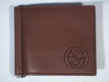 NWT GUCCI Mens New Oak Brown Soho Leather Money Clip Wallet 322119