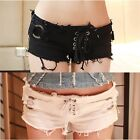 Sexy Women's Low Waist Mini Denim Jean Shorts Distressed Hot Pants Black White