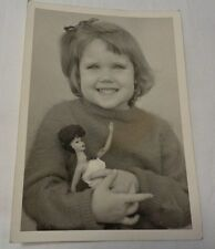1960-1961 era Photo Little Girl holding original dark hair Barbie Doll Rare!