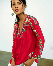 JOHNNY WAS Vanessa Pinkberry Embroidered Floral Oversized Tunic Pink PXXL Petite