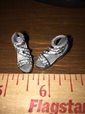 Barbie Silver Skipper Logo Platform Ankle Strap Open Toe Rare Sandals Shoes