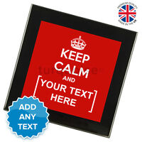 Keep Calm And Carry On Personalised Glass Coasters Drink Gift Set | Black
