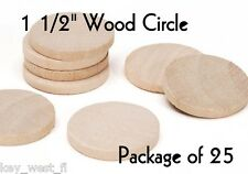 "CIRCLE ~ 1 1/2"" ~ Wood Cutout Craft Shape ~ Unfinished { Lot of 25 } ~ by PLD"