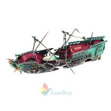 A#S0  Aquarium Ornament Ship Air Split Shipwreck Fish Tank Decor Sunk Wreck Boat
