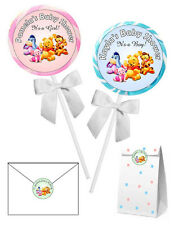 40 WINNIE THE POOH BABY SHOWER FAVORS LOLLIPOP STICKERS ~for goody bags, seals
