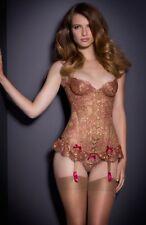 NWT Agent Provocateur Zaharah Gold Burgundy Lace Corset Size 3 Top Bra