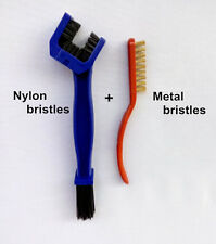2X Chain Gear Cycle Brake Oil Dirt Rust Cleaning Brush Remover Tool For Kawasaki